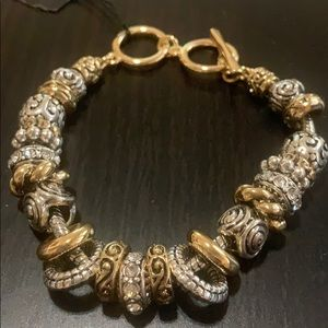 Scroll & vine Gold and silver tone bracelet